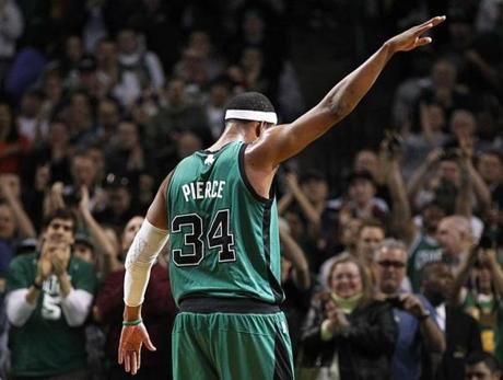 Celtics forward Paul Pierce  acknowledged the crowd's cheers as he became the 20th all-time scorer in the NBA during a game against the Toronto Raptors at the TD Garden.