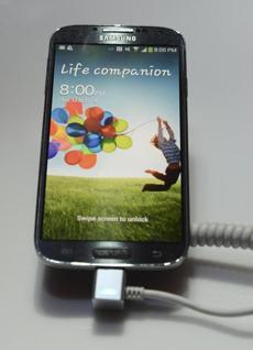 The Galaxy S4 features a five-inch 1080p screen and a 13-megapixel rear camera.