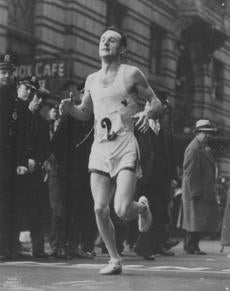Photo of Johnny Kelley winning Boston Marathon in 1935. -- Marathonhistory