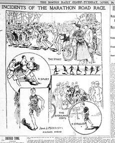 Boston Marathon. An illustration in the April 20, 1897, Boston Globe newspaper recaps the highlights of the first Boston Marathon. Globe File Photo -- Marathonhistory