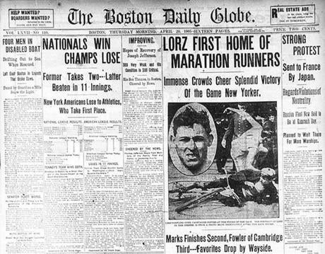 Microfilm scan for BostonMarathon folder/ Lorz -winner first home of marathon runners. April 20, 1905 The Boston Daily globe newspaper page -- Marathonhistory