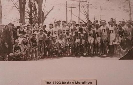 BOSTON-- One of many copy scans of historic Boston Marathon photos for Barbara Heubner. 1/1/96. A smallish group ready to start the 1923 Marathon. -- Marathonhistory