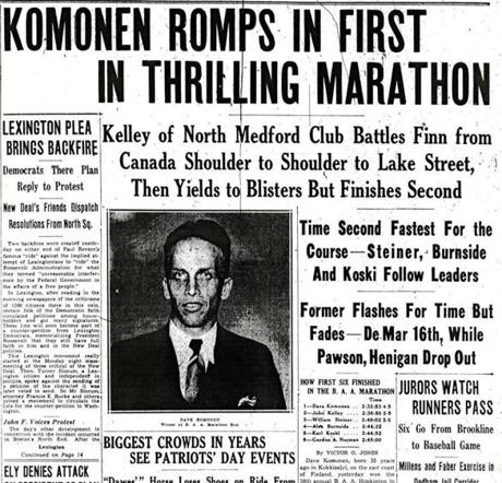 1934 Boston Marathon. Dave Komonen won the race. BostonMarathon1934 -- Marathonhistory
