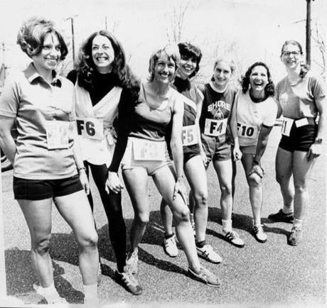 4/17/1972 Hopkihnton, MA. For the first time in the history of the BAA Marathon women are allowed to enter the 26-mile 385-yard run from Hopkinton to Boston. The happy female runners are left to right: Nina Kuscik, Boston; Kathy Miller, Syracuse, N.Y.; Elaine Pedersen, San Francisco; Ginny Collins, Boston; Pat Barrett Shore Athletic Club, N.J.; Frances Morrison, Dallas and Sara Mae Berman of Cambridge, Ma. -- Library Tag 04102002 Sports -- Marathonhistory