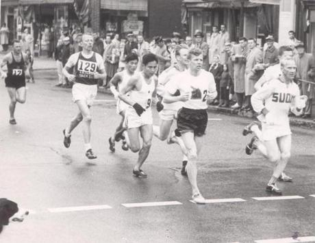 OPS photo by paul connell april 20 1959 marathon runners going through natick square. -- Marathonhistory