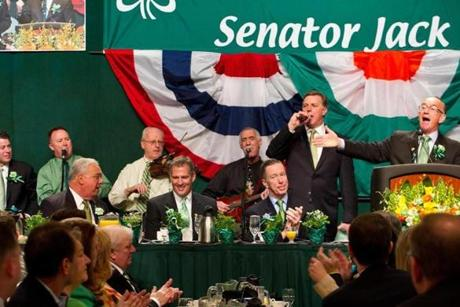 Boston City Councilor Bill Linehan (far right) poked fun at Mayor Menino to the tune of