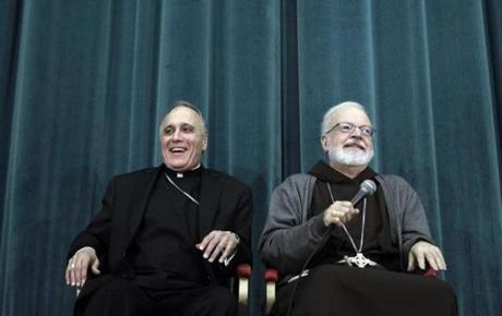 Cardinals Sean O'Malley (right) and Daniel Nicholas DiNardo spoke at a press conference before the conclave.