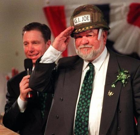 In 1997, state Senator Stephen Lynch, left, presented Representative Joseph Moakley with an army helmet bearing his nickname.