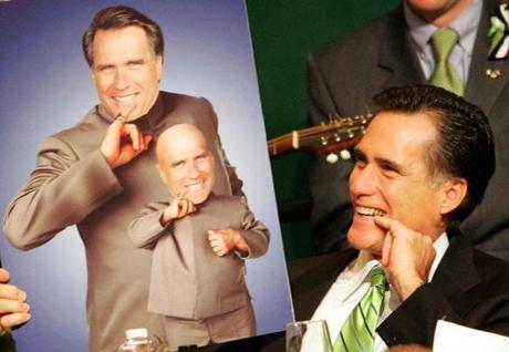 In 2005, Governor Mitt Romney mimicked a poster of himself as Dr. Evil and Mini-Me.
