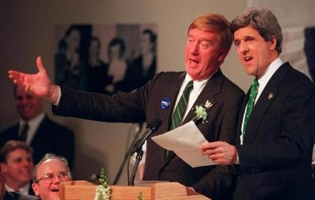 Governor William Weld and Senator John Kerry sang together in 1997 during the St. Patrick's Day Breakfast.