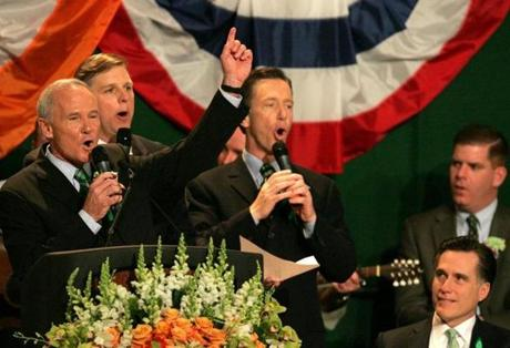Boston, MA 3/19/06 The Irish tenors (l to r) Tom Reily, (Attorney General), Senator Jack Hart, Stephen Lynch belt out a song as Mass Gov. Mitt Romney listens during the St. Patrick's Day Breakfast at the Convention Center on Sunday March 19, 2006. Matthew J. Lee/Globe staff Library Tag 03202006 Metro