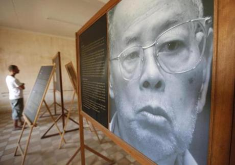 An exhibit featured Ieng Sary at a genocide museum in Phnom Penh Wednesday.