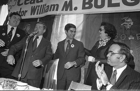 From left: City Councilor Ray Flynn, State Senator William Bulger, Governor Michael Dukakis, City Councilor Louise Day Hicks, and Congressman Joe Moakley at the 1975 breakfast.