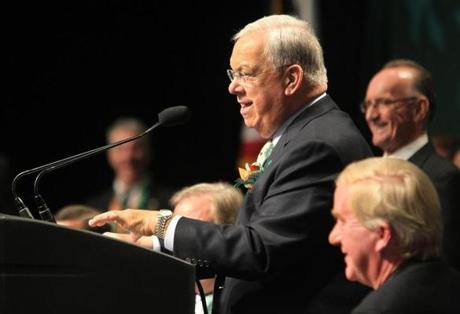 Boston, MA--3/17/2013--Mayor Thomas M. Menino. Hosted by Boston City Councilor Bill Linehan (cq), the annual South Boston St. Patrick's Day Breakfast is held at the Boston Convention and Exhibition Center, on Sunday, March 17, 2013. Photos by Pat Greenhouse/Globe Staff Topic: 18breakfast Reporter: Michael Levenson