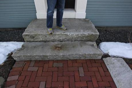 The front steps are recycled granite.