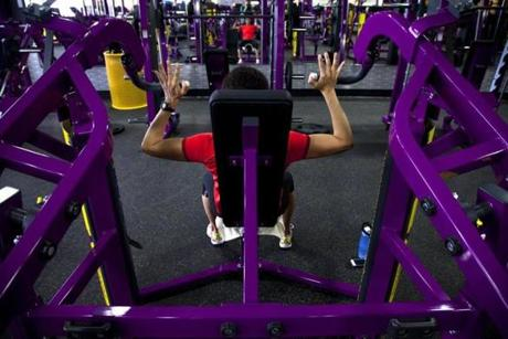 "Cristina Winsor of Wakefield worked out at the Planet Fitness in Reading. ""I do like the no-judgment feeling,"" she said."