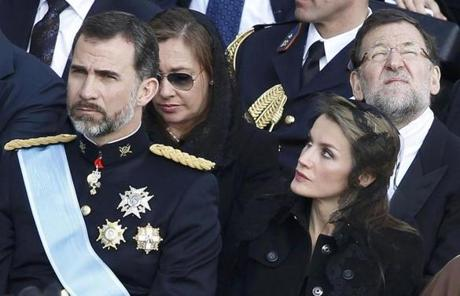 Spain's Prince Felipe (left) and Princess Letizia, and Spain's Prime Minister Mariano Rajoy (right) were in attendance.