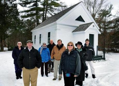 Local Quakers meeting at the Bethel Chapel in Pembroke are (from left) Deanna White-Hebert of Pembroke, Kyle Hardney of Pembroke, Ellen and Robert Taylor of East Bridgewater, Jim deVeer of Hanover, Joanne Heffernan of Randolph, Dorothy Tinkham Delo of Brockton, and Jay deVeer of Hanover.