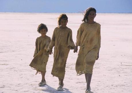 "Tianna Sansbury as Daisy, Laura Monaghan as Gracie and Everlyn Sampi as Molly in ""Rabbit-Proof Fence."""