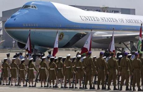Israeli soldiers greeted Air Force One on the tarmac at Ben Gurion Airport.