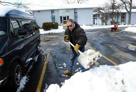They were still shoveling in Central Massachusetts on Wednesday, including Ray Brown, a superintendent at Colony Retirement Homes in Worcester. He noted that the company has had to use more man-hours on snow removal this year.