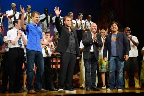 On opening night in Los Angeles last Sept. 12, the musical's creative team (from left) Matt Stone, Trey Parker, Casey Nicholaw and Robert Lopez got a hand from the cast at the Pantages Theater.