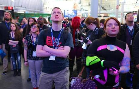 Attendees of the PAX East gaming conference watched a large video display screen showing a new game Friday.