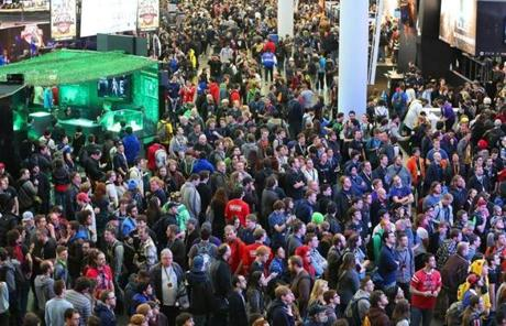 Thousands gathered for the opening day of the PAX East annual video gaming convention Friday.