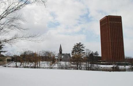 The UMass Amherst campus has a mix of architectural styles.