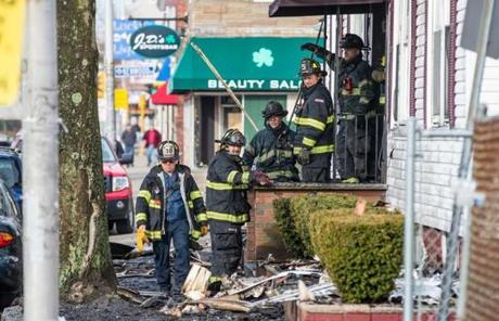 Firefighters were still at the scene Monday morning.