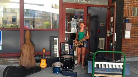 Abigail Miller of Newton recently donated 34 instruments to Berklee College of Music for her bat mitzvah project.