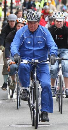Menino led cyclists through downtown Boston during a program to promote cycling in the city May 12, 2008.