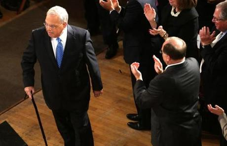 "Menino, walking with a cane, entered his annual State of the City address at Faneuil Hall Jan. 29, 2013 as Kelly Clarkson's ""Stronger"" played over speakers."