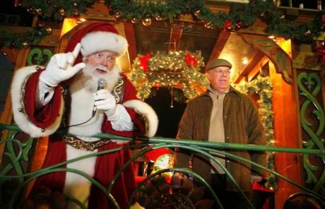 Menino during a Dec. 5, 2008 stop in Readville on his annual trolley tour, one of many holiday tree lightings he has attended.