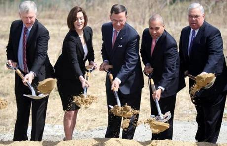 Menino, far right, at a ceremonial groundbreaking for the Edward M. Kennedy Institute in Dorchester, April 8, 2011.