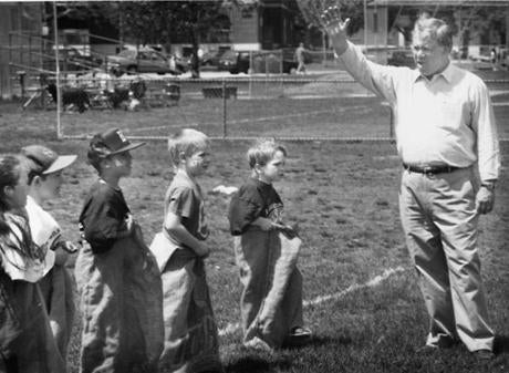 At Spring Unity Fest in Columbus Park, Menino prepared to signal the start of a sack race May 7, 1994.