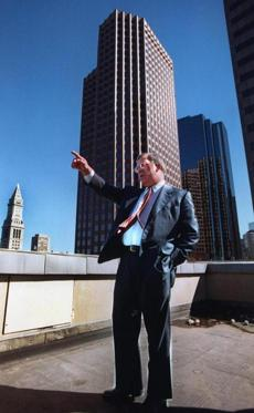 Menino on a downtown Boston rooftop in an undated file photo.
