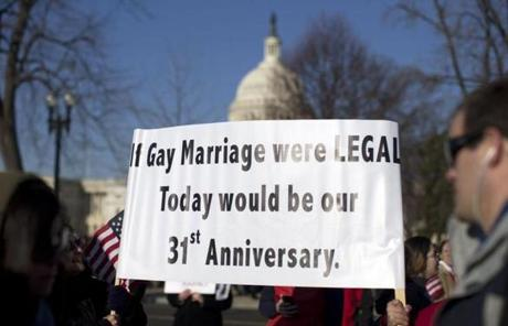 The court on Wednesday will hear a challenge to the 1996 Defense of Marriage Act.