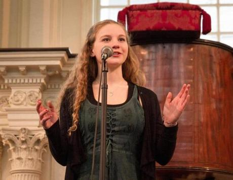Micayla Riven, a sophomore at Needham High School, was named second runner-up at 2013 Poetry Out Loud on March 10 at Boston's Old South Meeting House.