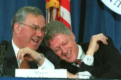 President Bill Clinton and Menino laughed about 'gaining and losing weight' during a roundtable discussion at UMass Boston Feb. 19, 1997. Clinton was in town to support Menino's efforts to fight juvenile crime.