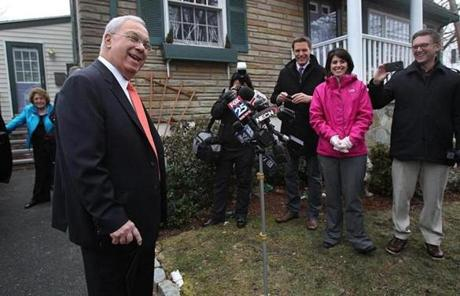 Mayor Thomas M. Menino spoke to reporters before leaving his Hyde Park home.