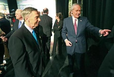 Democrats Stephen F. Lynch (left) and Edward J. Markey had a brief handshake after the debate.