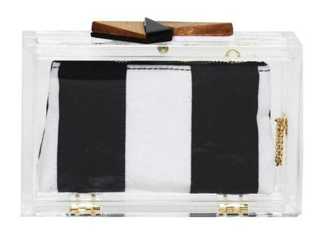 Lucite box clutch, $295, online only at aliceandolivia.com