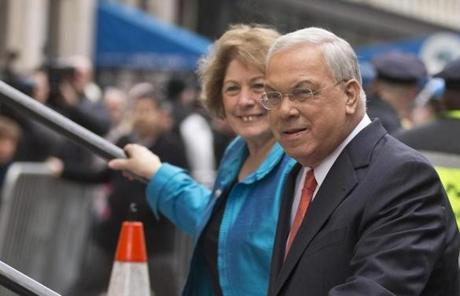 Menino and his wife, Angela Menino, arrived at Faneuil Hall for his official announcement.