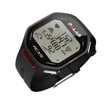 The Polar RCX5 multi-sport watch lets travelers keep track of their distance, time, pace, and heart rate while running and biking in unfamiliar settings.
