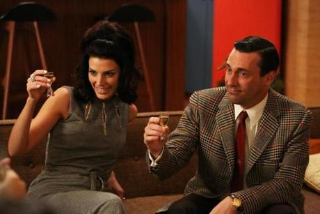 Megan Draper (Jessica Paré) and Don Draper (Jon Hamm) in a scene from the sixth season.