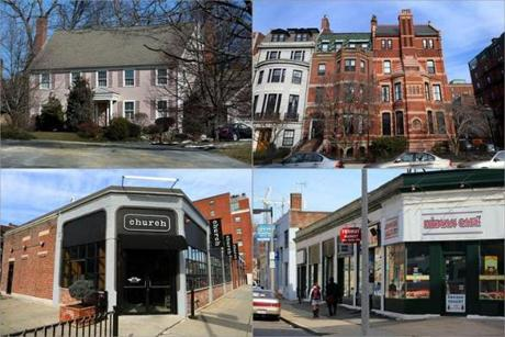 In addition to his home in Belmont (above left), Tutunjian's real estate includes an apartment building on Commonwealth Avenue in Boston (above right), a building that houses a Kilmarnock Street restaurant, and other commercial properties on Kilmarnock.