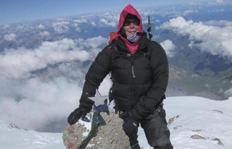 SLIDER Vanessa O'Brien on the Summit of Mt. Elbrus 15 of July 2012 Photo by Michael Hamill