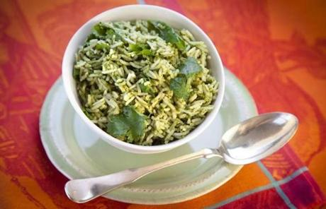 Winchester resident Kinzie Moore Gensler writes that her favorite spring dish is jade rice made by adding a puree of basil, mint, cilantro, and spinach to ginger-scented long-grain rice.