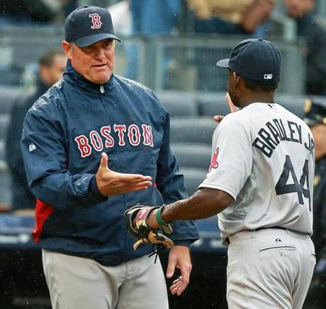 "Farrell was happy to congratulate his rookie outfielder, who said he wasn't nervous heading into his first game.  ""I was ready,"